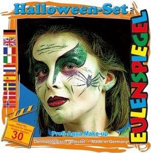 Schminkset Halloween 3 Farben Pinsel und Anleitung