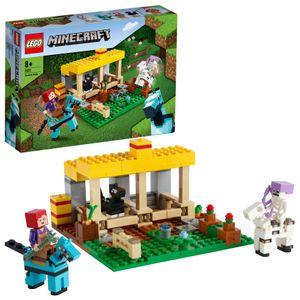 LEGO 21171 Minecraft Der Pferdestall Bauernhof Spielzeug, Set mit Figuren: Pferd, Pony, Landarbeiter, Skelett, Skelettpferd