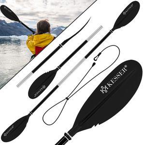 KESSER® Paddle Doppelpaddel - 4-teilig für Kanu Kayak SUP Stand-Up Paddling Board Stechpaddel, 228cm Aluminum Super Leicht für Schlauchboot, Stand Up Paddel Kajakfahren Surfboard Boot, Farbe:Schwarz