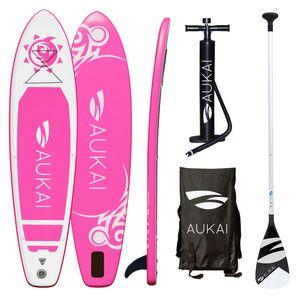 "Aukai® Stand Up Paddle Board 320cm ""Tribal"" SUP Surfboard aufblasbar + Paddel Surfbrett Paddling Paddelboard - pink"