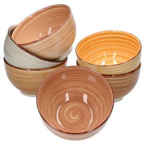 6tlg. Müslischalen Set Sandy für 6 Personen Schüsseln 14cm edles Porzellan-Geschirr 6 Farben