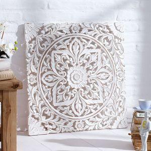 Wandbild aus Holz Bild Skulptur Holzskulptur Dekobild Dekoration weiß 60 x 60 cm