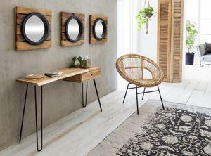 SIT Möbel Stuhl aus Rattan in natur, Gestell in antikschwarz|B80 x T71 x H86 cm|05342-01|Serie RATTAN