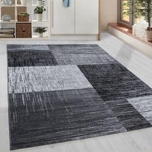 Kurzflor Design Teppich Modern geometrisches Muster Grau Schwarz Weiss Meliert, Grösse:160x230 cm