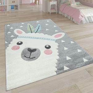 Teppich Kinderzimmer Grau 3-D Motiv Alpaka Design Pastellfarben Weich Robust, Grösse:120x170 cm