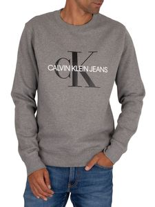 Calvin Klein Jeans Herren Kultiges Monogramm-Sweatshirt, Grau XXL