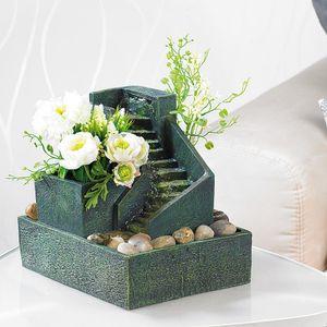 Zimmerbrunnen mit Pflanzen und Stufen aus Stein, Brünnen für Zimmer zum Bepflanzen, kleiner bepflanzter Brunnen