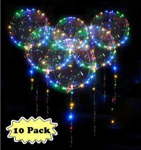 Zodight Bobo Helium Ballons - 10 Stück LED Ballons Leucht Luftballon 18 Zoll LED Bunte Luftballons Perfekt für Valentinstag, Party, Jahrestag Feierlichkeiten, Geburtstag, Hochzeit
