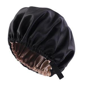 Satin Silk Bonnet Night Sleeping Cap Hut Für Lockiges Naturhaar Farbe Schwarz