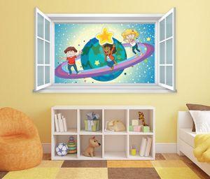 3D Wandtattoo Fenster Saturn Sterne Weltall Wand Aufkleber Wanddurchbruch Wandbild Wohnzimmer 11BD1333, Wandbild Größe F:ca. 97cmx57cm