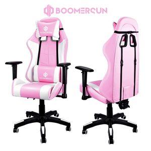 Boomersun Massage Schreibtischstuhl USB Bürostuhl Gamingstuhl Racing Chair Chefsessel Gaming Stuhl 3D Verstellbare Armlehne und Kopfkissen Lendenwirbelstütze Rosa+Weiß