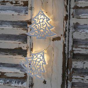 Lichterkette WHITE CHRISTMAS TREE weiß Tannenbäume Weihnachten batteriebetrieben