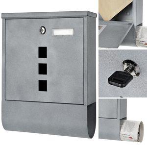 Design Briefkasten Beton Grau mit Namenschild Zeitungsrolle Wandbriefkasten Mail