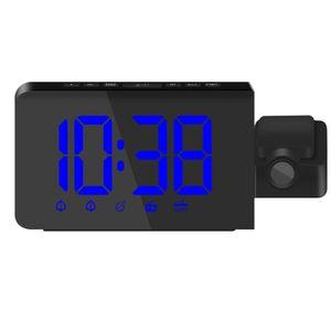 Digital Projektionswecker mit Zeit-Projektion, Projektions-Funkwecker, AM FM Radiowecker verstellbare Helligkeit, Wecker Blau wie beschrieben