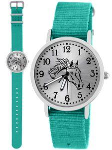 Pacific Time Kinder Armbanduhr Mädchen Pferd fluoreszierend Zeiger Wechselarmband türkis