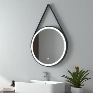 EMKE LED Badspiegel Rund 50 cm Durchmesser LED Spiegel Badezimmerspiegel mit Beleuchtung Kaltweiß Lichtspiegel Wandspiegel mit Touchschalter IP44 Energiesparend (Schwarz Design)