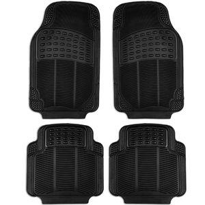 Auto Fußmatten Gummi für Vorne Auto-Fussmatten Set Universal Teppiche Schwarz