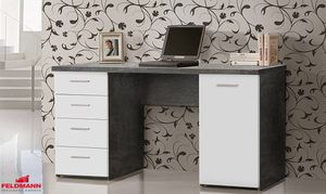 Schreibtisch PC Tisch beton weiß 145cm