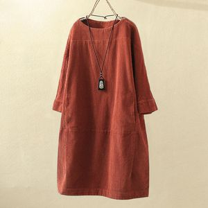Frauen Vintage Taschen Cord Solid einfarbig Langarm lose Freizeitkleid Größe:XXXL,Farbe:Orange