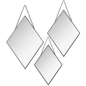 Wandspiegel Diamant 3er Set, Wandspiegel, hängende Spiegel, Spiegel im schwarzen Rahmen