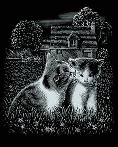 """Kratzbild """"Kätzchen"""", Silber, 20 x 25 cm"""