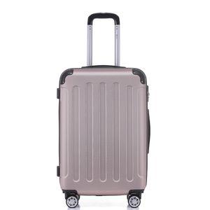 Reise Koffer 2050 Hartschalenkoffer Trolley Reisekoffer M Rosa Gold 4 Rollen Roll-Koffer Handgepäck