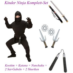 NINJA KOSTÜM KOMPLETTSET KINDER + Schwerter,  Wurfstern , Nunchaku # Gr. 140