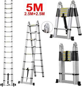 WYCTIN Aluminium Multifunktionsleiter Mehrzweckleiter Gelenkleiter (5M)(2.5+2.5)