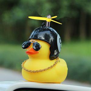 Autodekoration Ente mit Helm Gebrochener Wind Gelbe Ente mit Helm-Schutzhelm Turboente【Schwarzer 8 Helm】