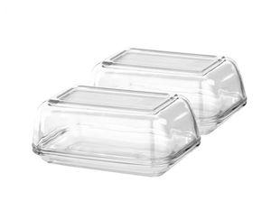 2 Stück Butterdosen Glas Luminarc 250 g Fassungsvermögen