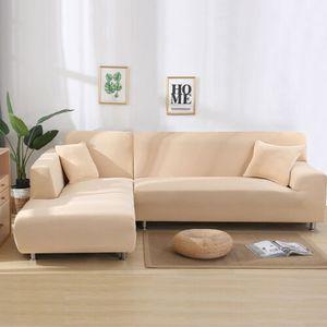 Topchances Sofabezug 3 Sitzer+3 Sitzer Sofaüberwürfe für L-Form Sofa elatücke Kisstische Stretch Sofabezug Sofa Überzug, Beige