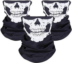 [3 Stück] Motorrad Totenkopf Maske, Sturmmaske, Skull Skelett Maske für Motorrad Fahrrad Ski Halloween, Schwarz