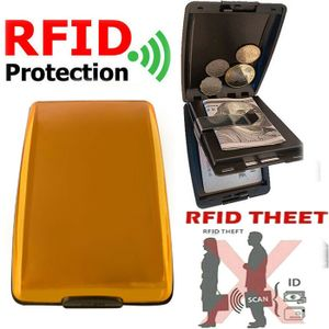 Miixia Geldbörse Aluminium Brieftasche Kreditkarten Etui RFID Schutz Dokument Storage Golden