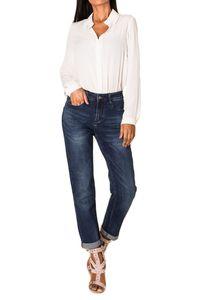 Damen Boyfriend Denim Jeans Hose Stretch Weites Bein Baggy Relaxed , Farben:Dunkelblau, Größe:42