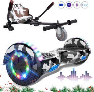 Markboard 6,5 Zoll Hoverboard Camouflage mit Bluetooth speaker und 700W motor  LED-Leuchten +Hoverkart Camouflage,  Self Balance Elektroscooter + Gokart, Elektroroller mit Hoversitz