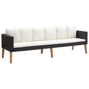vidaXL 3-Sitzer-Gartensofa mit Auflagen Poly Rattan Schwarz