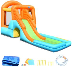 COSTWAY Huepfburg aufblasbar, Wasserrutsche Spielpool Aufblasbare, Wasserspielcenter mit Rutsche, Wasserpark Planschbecken 490 x 225 x 240 cm
