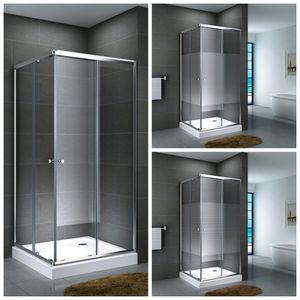 Glasdusche Werra Set 14 cm, Ausführung:Gestreift, Größe:90 x 90 x 190 cm, Duschtasse:mit Duschtasse und Ablauf