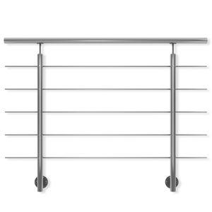 DOLLE Edelstahl Geländer Seitenmontage, Länge 150 cm; Höhe 100 cm, witterungsbeständig, für Treppe, Balkon, Brüstung & Terrasse