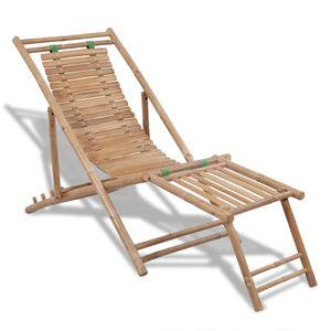 dereoir Garten-Liegestuhl mit Fußablage Bambus