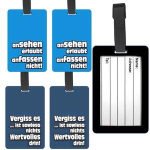 4 Stück Kofferanhänger Gepäckanhänger Kofferschild Witzige Deutsche Sprüche Koffer Anhänger