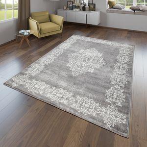 Wohnzimmer Teppich Modernes Orientalisches Design Kurzflor In Grau Weiß, Größe:200x280 cm