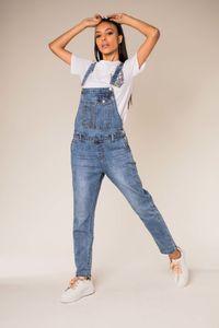 Damen Boyfriend Stretch Latz Jeans Mom Design Latzhose Weite Denim Overall Pants mit Retro Träger , Farben:Blau, Größe:38