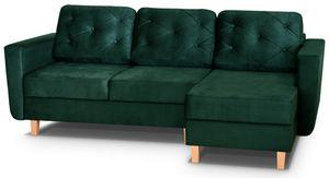 Ecksofa VERDI 236cm Grün mit Bettkasten und Schlaffunktion aus Bonnell-Federn Wohnzimmer Couch