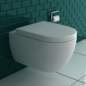Alpenberger Spülrandlose Hänge-Toilette | Komplett Set inkl. abnehmbaren D-Form WC-Sitz mit Softclose Absenkautomatik und Montageelemente | Tiefspüler WC für beste Hygiene | passend zu GEBERIT