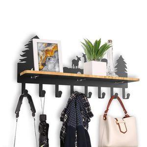Wandgarderobe mit Ablage und 8 Haken, Garderobenregal Ablage mit Hängestange Wandregal