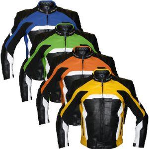 Motorradjacke Lederjacke Biker lederjacke Büffelleder , Farbe:Gelb, Größe:52/L
