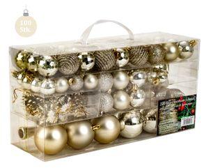 100 teiliges Set Lamettini Creme Weihnachtskugeln Spitze Lametta Anhänger