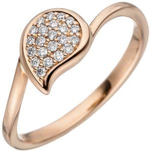 JOBO Damen Ring 58mm 585 Gold Rotgold 22 Diamanten Brillanten Diamantring Rotgoldring