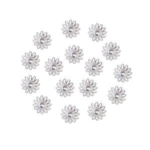 100 Stück Blumen Bead Cap Silber 16x4mm Perlenkappe